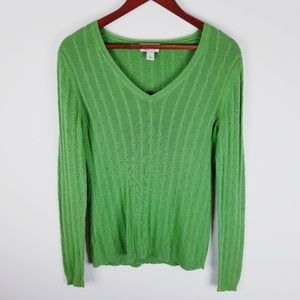 Ann Taylor Loft green vneck cable sweater small